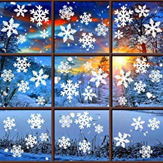 Tifeson Christmas Decorations Snowflakes Window Clings - Winter Xmas Holiday Window Decals - Removable Window Stickers Ornaments for Christmas Party Decor (6 Sheets)