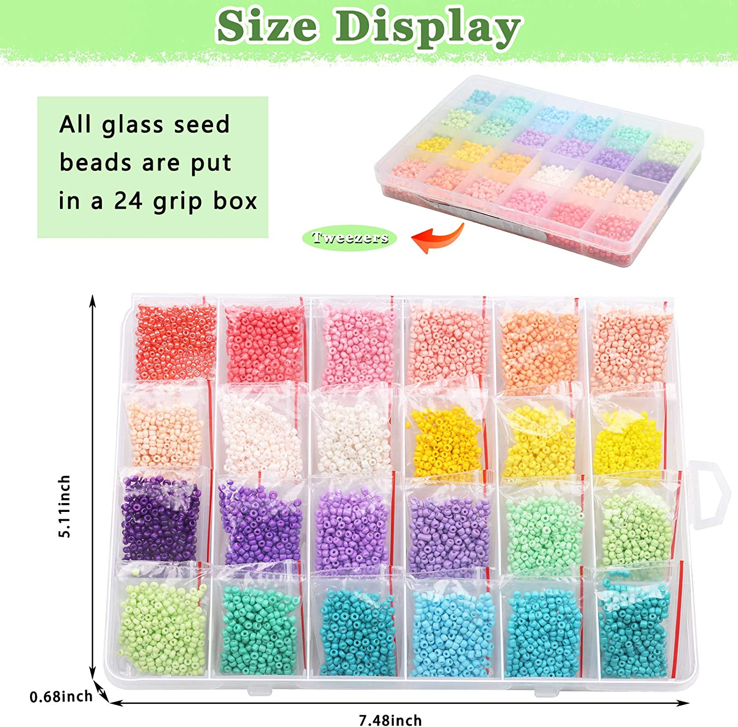 7200Pcs 12//0 Glass Pony Seed Beads Kit Gacuyi 24Colors 2mm Small Craft Beads for DIY Bracelet Necklace Crafting Jewelry Making Supply with 2Pcs 0.5mm Elastic String and Tweezers 300Pcs Per Color