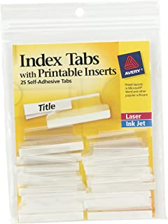 Avery Index Tabs, with Printable Inserts, 1.5-Inch, 25 Tabs, 1 Set (16230)
