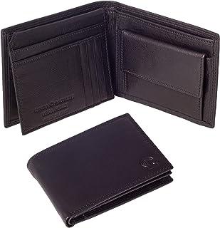 Linda Chiarelli portafoglio uomo vera pelle made in Italy blocco RFID grande portafogli con patella porta tessere, carte d...