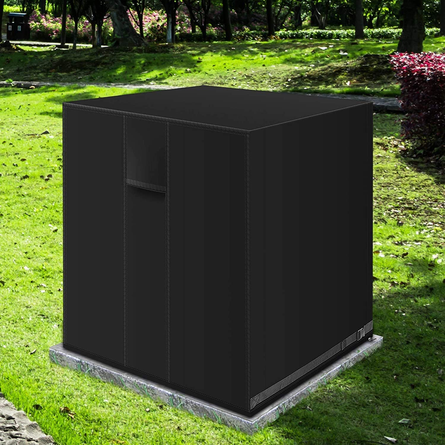 IPHUNGO Square Central Air Conditioner Cover, Durable Waterproof Breathable TPU Coating, Central AC Unit Covers for Outdoor Protection (24''x 24'' x 30'', Black)