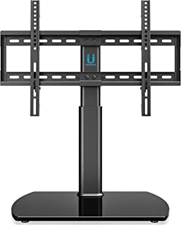 FITUEYES Universal TV Stand/Base Tabletop TV Stand with Wall Mount for 32 to 65 inch Flat Screen 3 Level Height Adjustable, Heavy Duty Tempered Glass Base, Holds up to 110lbs Screens TT107001GB