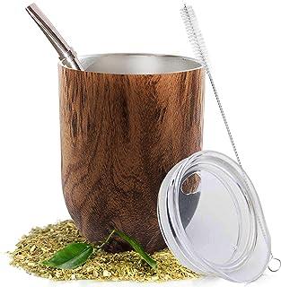 Yerba Mate - Juego de taza de té (calabaza natural, 12 onza