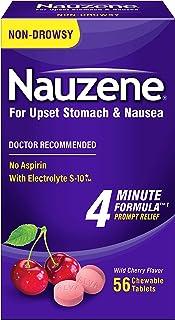Nauzene - Non-drowsy Upset Stomach & Nausea Relief - Wild Cherry Flavor Chewable Tablets - 56 Ct