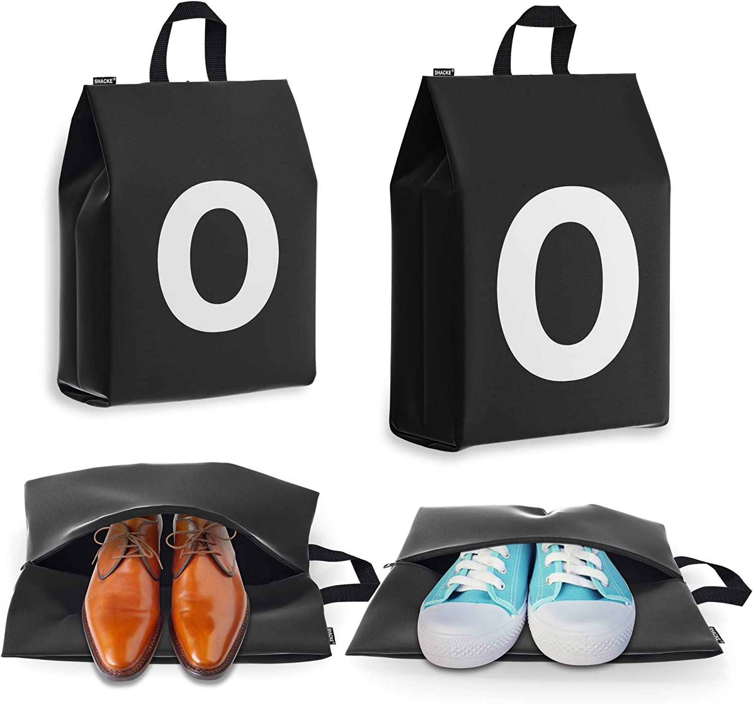 Personalized Initial Shoe Bags for Travel for Men and Women 4pk