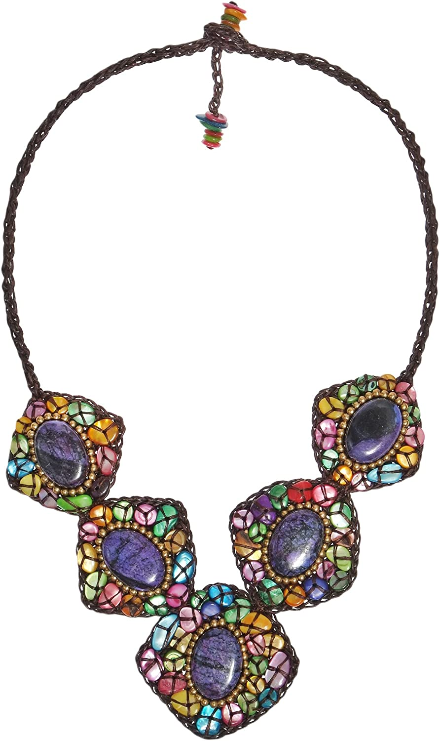AeraVida Multicolor Medley Mother of Pearl Oval Dyed Purple Howlite Cotton Wax Rope Collar Necklace