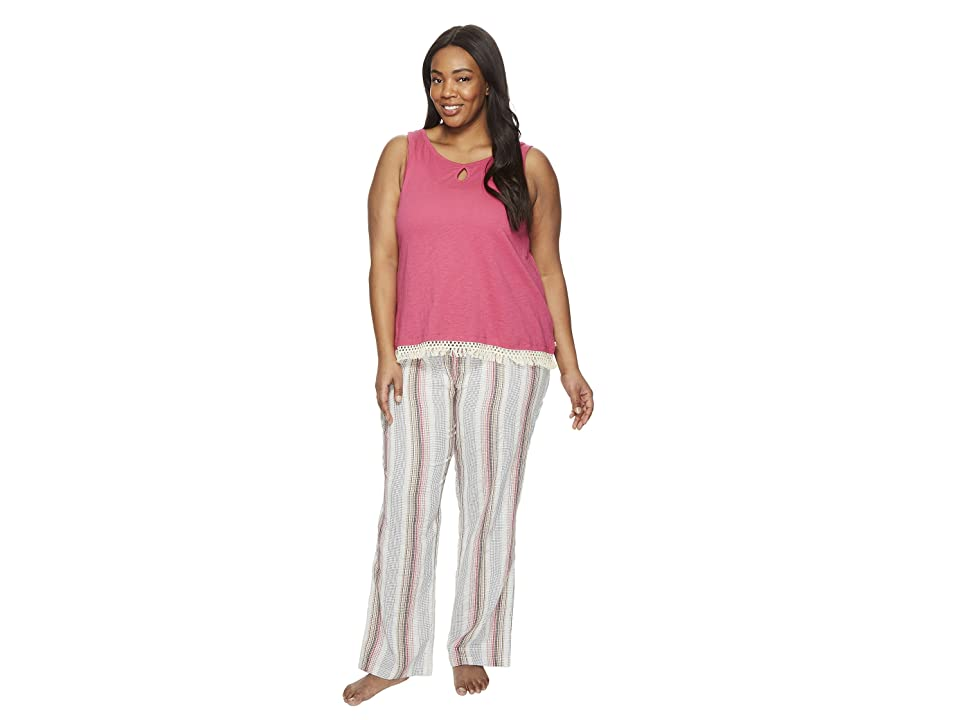 Lucky Brand Plus Size Cotton Fringe Tee Jay (Romantic Stripes) Women