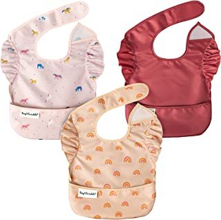 Tiny Twinkle Mess-Proof Easy Bib 3 Pack - Baby & Toddler Waterproof Bib with Adjustable Closure, 6-24 Months