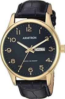 Armitron Men's Easy to Read Day/Date Function Gold-Tone and Black Leather Strap Watch, 20/5355BKGPBK