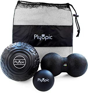 Plyopic Deep Tissue Massage Ball Set - Includes Rubber, Peanut and Foam Roller Massager Balls   For Myofascial Release, Trigger Point Relief and Mobility Therapy. Eliminate Muscle Pain: Back Neck Legs