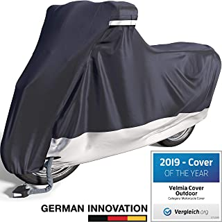 Velmia Motorcycle Cover Waterproof Outdoor & Indoor [Medium] Heavy Duty Premium Bike Cover, Moped Cover for Harley Davidson - Scooter Cover Heat-Resistant, Scratch-Free & Breathable for Ideal Storage