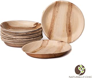 """Naturally Chic Compostable Biodegradable Disposable Dessert Plates - Palm Leaf 7"""" Round, Deep Dinnerware Set - Eco Friendly Alternative - Party, Wedding, Event Plates (25 Pack)"""