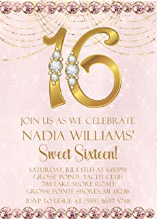 Pink & Gold Sweet 16 Birthday Party Invitations With Envelopes, Pink Sweet 16 Invitations