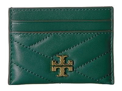 Tory Burch Kira Chevron Card Case (Malachite) Wallet Handbags