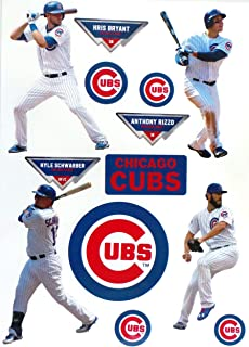 FATHEAD Chicago Cubs Team Set 4 Players, 5 Cubs Logo Official MLB Vinyl Wall Graphics Kris Bryant, Anthony Rizzo, Kyle Schwarber - Each Player 7