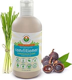 Soapberry Conditioner [Lemongrass] - Organic Leave In Conditioner With Raw And Wild Plants for Itchy Scalp And Dry, Damaged Hair - Probiotic Sulfate Free Conditioner - Certified Vegan - 9 Oz.