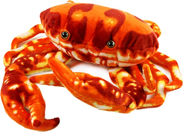 Houwsbaby Large Crab Stuffed Marine Animal Soft Realistic Oceanic Plush Toy Kids Birthday Gift Huggable Pet Pillow Home Decorations Red 13 Inches