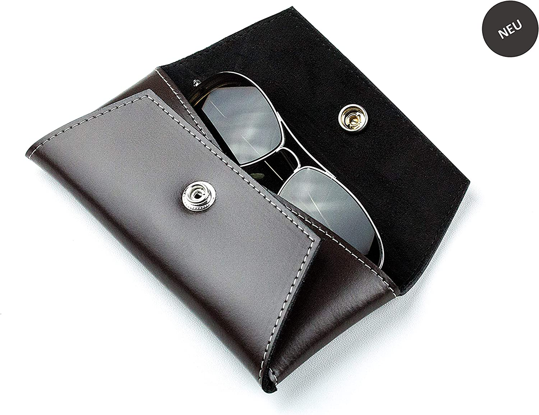 Custodia per occhiali personalizzabile in pelle premiumCambridge Top Grain per donna e uomo con chiusura a scatto e fodera inAlcantara Velour di alta qualit/à DELMON VARONE