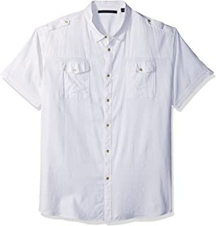 Sean John Mens White Printed Cotton Button-Down Shirt Big /& Tall 2XL BHFO 5682
