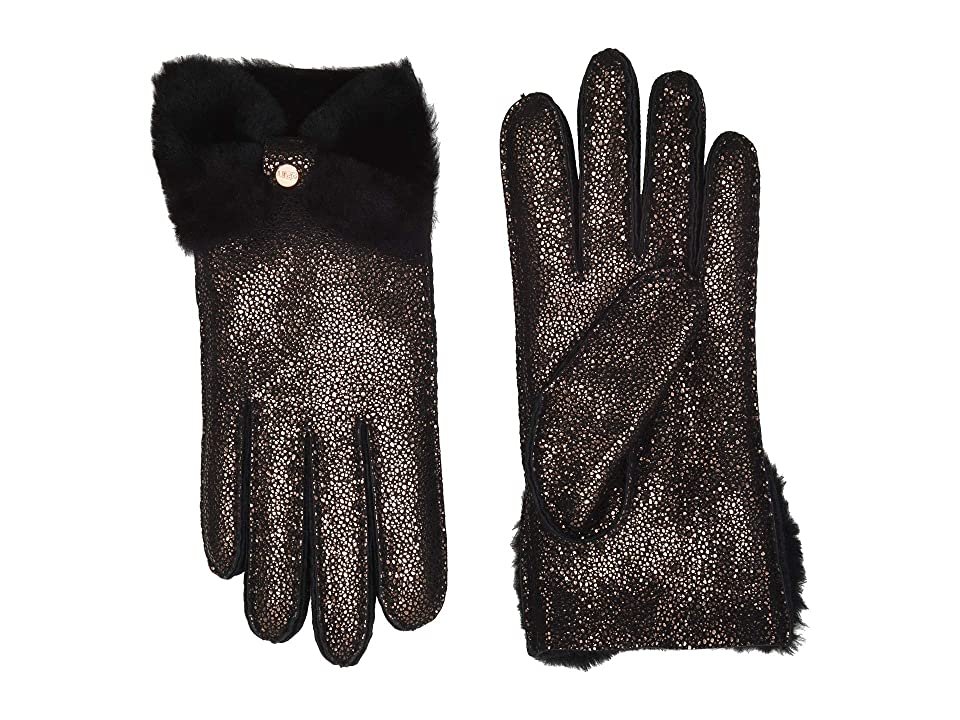 UGG Bow Shorty Water Resistant Sheepskin Gloves (Metallic Black) Extreme Cold Weather Gloves