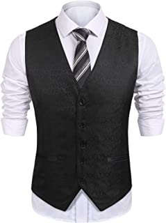 Mens V-Neck Sleeveless Slim Fit Vest,Jacket Business Suit Dress Vest