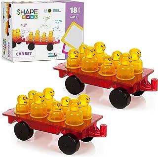 Shapemags 18 Piece Set Magnet Building Tiles Magnetic Blocks - Cars Expansions Set with 16 Figures, Award Winning STEM Educational 3D Construction Blocks Set