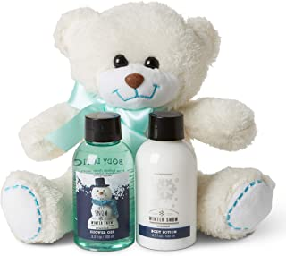 Bath and Shower Body Wash Set: Teddy Bear Shower Gel and Lotion Gift Sets for Women and Girls - Luxury Body and Skin Care Products and Bath Essentials Beauty Kit with Stuffed Animal - Winter Joy Scent