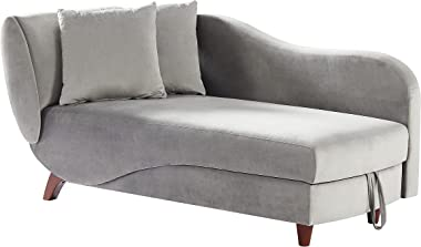 COODENKEY Storage Chaise Lounge Indoor, Upholstered Sofa Recliner Chair with 2 Pillows for Living Room Bedroom, Velvet, Gray