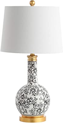 Safavieh TBL4147A-SET2 Lighting Bodie Black and White 26-inch (Set of 2) -LED Bulbs Included Table Lamp
