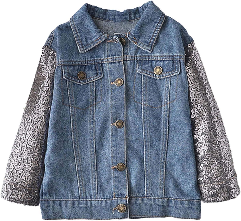 JanJean Toddler Little Big Girls Fashion Denim Jackets Sequins Long Sleeve Button Down Jeans Jacket Coat Top Outwear