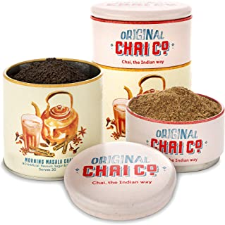 Morning Masala Chai Indian Tea-30 Servings -Organic Chai Tea Recipe - Unsweetened Chai Spice Blend 30gm & 100gm Assam Black Indian Tea Leaves in 1 Storage Tin-All Natural Ingredients