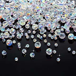 400 Pieces Crystal Glass Beads 4 mm 6 mm 8 mm Faceted Glass Spacer Beads and 50 Pieces 6 mm 8 mm Crystal Rhinestone Rondel...