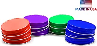 TheLidCollection Mason Jar Lids Variety Pack: Red, Purple, Green, Blue   Made In USA   12 Pack One Piece Airtight Metal Regular Mouth   Fits Ball   Canning Lids, Color Kitchen, Colored Organization