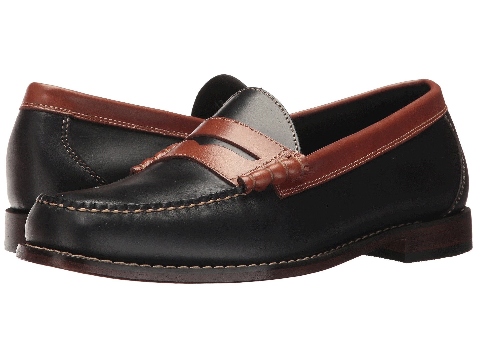 G.H.BASS&CO Larson Weejuns, Black/Saddle Tan Pull Up in Neutrals