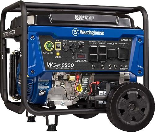 Westinghouse Outdoor Power Equipment WGen9500 Heavy Duty Portable Generator 9500 Rated 12500 Peak Watts, Gas Powered,...