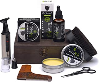 Beard Kit, Grooming & Trimming Set Gift for Men Includes - Beard Oil, Beard Balm, Horsehair Brush, Wooden Comb, Facial, Nose & Ear Trimmer, Beard & Mustache Scissors