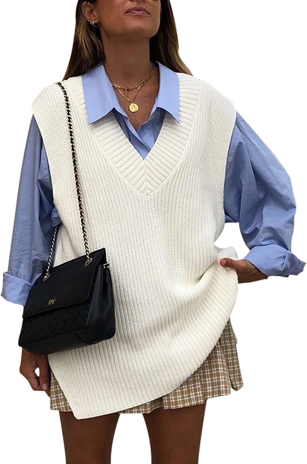 SAFRISIOR Women Oversize Sweater Vest V Neck Sleeveless Knitted Jumper Casual Pullover Sweater Preppy Style Vests