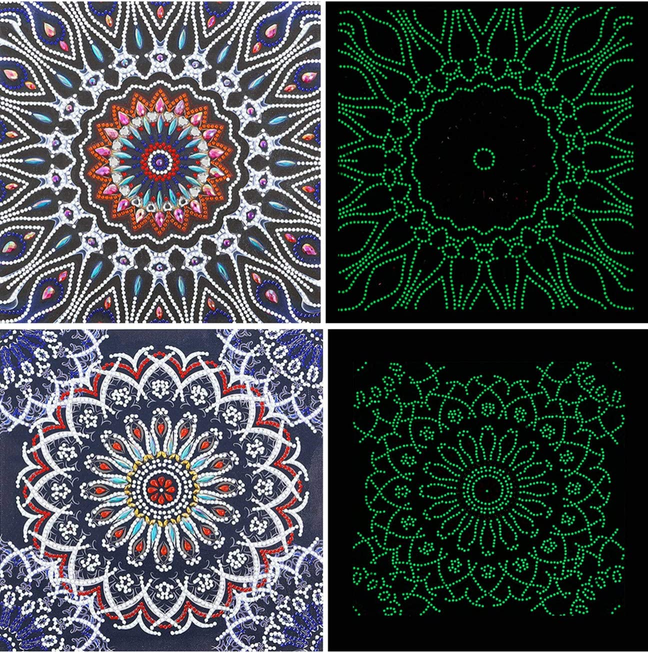 2 Pack Luminous Diamond Painting Glow in The Dark Mandala Flower 5D Diamond Painting Kits for Adults with Special Shaped Gems for Home Wall Decor,11.8 x 11.8 Inch