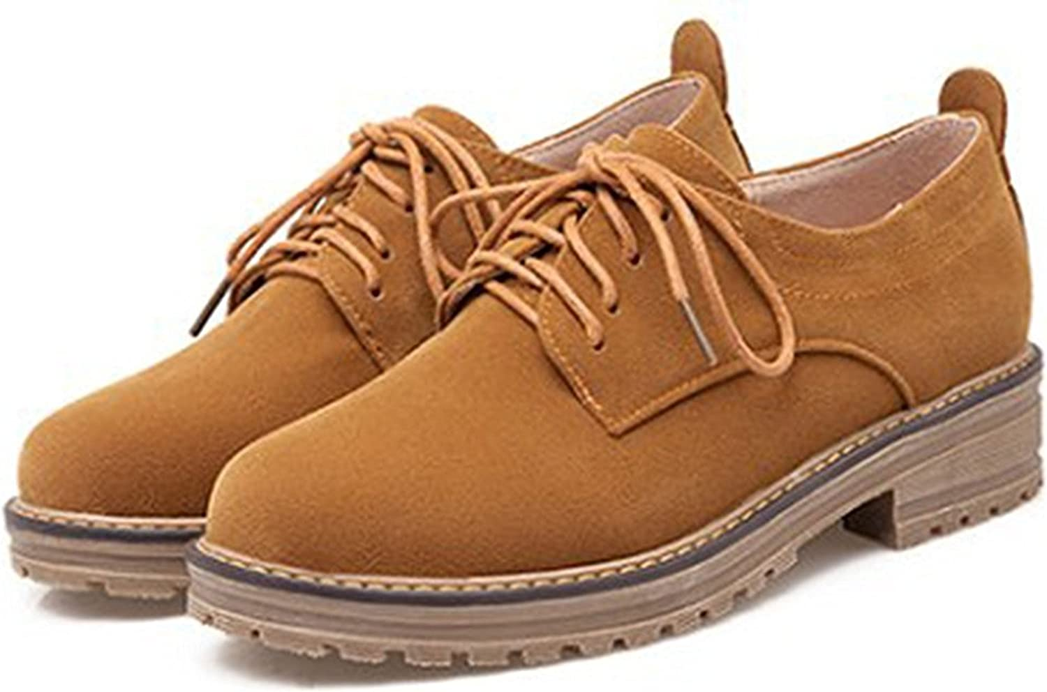 WANabcMAN Comfortable Women's Classic Low Chunky Heel Platform Low Top Lace Up Oxfords shoes