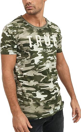 trueprodigy Casual Marca Camiseta para Hombre con impresión de Logotipo Militar Ropa Retro Vintage Rock Vestir Moda Cuello Redondo Manga Corta Slim ...