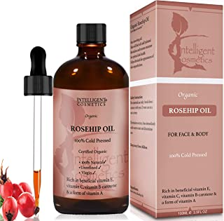 Rosehip Oil 100% Cold Pressed Pure Certified Organic Oil 100ml Best Known Facial Oil with Vitamin E, Vitamin C, B-carotene and a Form of Vitamin A
