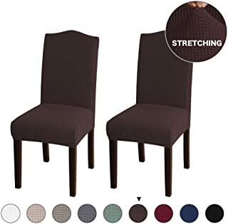 Turquoize Jacquard Dining Room Chair Slipcovers Sets Stretch Chair Cover for Home Decor Dining Chair Slipcover Washable Removable Dining Chair Protector Cover for Dining Room Set of 2, Brown