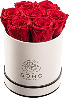 Soho Floral Arts   Real Roses That Last a Year and More  Fresh Flowers  Eternal Roses in a Box (Red: 7 X-Large Roses)