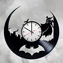 Modern Vinyl Record Wall Clock With Batman Silhouette Design - Unique Bedroom or Nursery Wall Decor - Original Gift Idea For His and Her - Exclusive Comics Hero Fan Art