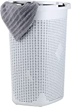 Laundry Hamper Basket With Lid 60 Liter - Deluxe Wicker Style White Color - 1.70 Bushel Bin With Cutout Handles To Storage Dirty Cloths in Washroom Bathroom, Or Bedroom. By Superio