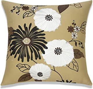 Couch Pillow Cover Throw Pillowcase Decorative European Floral Appliquéd Embroidery Cotton Satin 18X18 1PC French County B...
