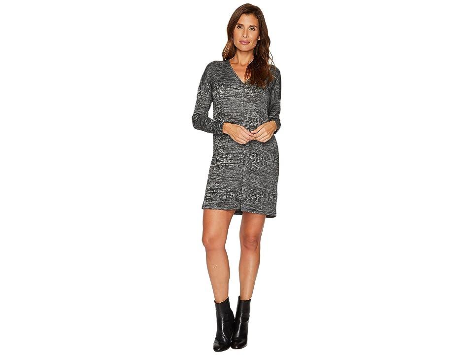 Lilla P Long Sleeve Double V-Neck Dress (Black Space Dye) Women