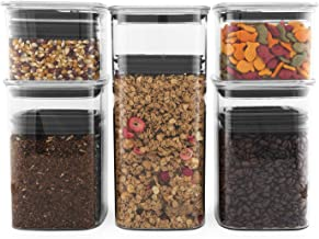 Planetary Design Airscape Lite Plastic Food Storage Canister, 5 Pack - 32, 64 and 96 fl. oz - Patented Airtight Lid Preserves Food Freshness - Clear