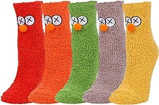 Women Girls Colorful Fuzzy Socks Cute Indoor Fluffy Sweet Slipper Socks 5 Pack