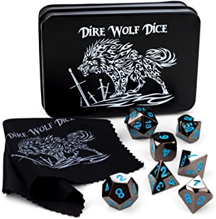 Dire Wolf Dice Metal Polyhedral DND Dice Set (7 Black and Blue Game Dice Plus Custom Tin Case) Gift Set for Role Playing RPG Like Dungeons and Dragons D&D, Pathfinder, Magic The Gathering MTG Games